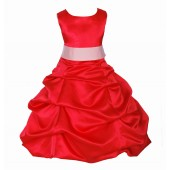 Red/Peach Satin Pick-Up Bubble Flower Girl Dress Christmas 806S