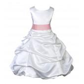 White/Peach Satin Pick-Up Bubble Flower Girl Dress V2 806S