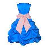 Royal Blue/Peach Satin-Pick-Up Bubble Flower Girl Dress 806S