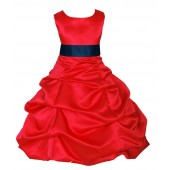 Red/Peacock Satin Pick-Up Bubble Flower Girl Dress Christmas 806S