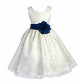 Ivory/Peacock Floral Lace Overlay Flower Girl Dress Special Event 163S