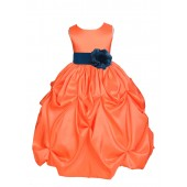 Orange/Peacock Satin Taffeta Pick-Up Bubble Flower Girl Dress 301S