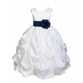 White/Peacock Satin Taffeta Pick-Up Bubble Flower Girl Dress 301S