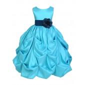 Pool Blue/Peacock Satin Taffeta Pick-Up Bubble Flower Girl Dress 301S