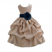 Champagne/Peacock Satin Pick-Up Flower Girl Dress Party 208T