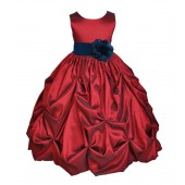 Apple / Peacock Satin Taffeta Pick-Up Bubble Flower Girl Dress 301S