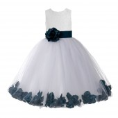 Ivory / Peacock Floral Lace Heart Cutout Flower Girl Dress with Petals 185T