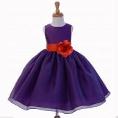 Purple/Persimmon Satin Bodice Organza Skirt Flower Girl Dress 841S