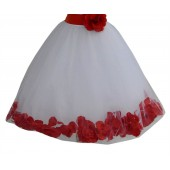 White / Persimmon Floral Lace Heart Cutout Flower Girl Dress with Petals 185T