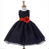 Black/Persimmon Satin Bodice Organza Skirt Flower Girl Dress 841S