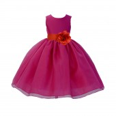 Fuchsia / Persimmon Red Satin Bodice Organza Skirt Flower Girl Dress Birthday 841S