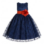 Navy Blue / Persimmon Floral Lace Overlay Flower Girl Dress Elegant Beauty 163T