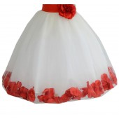 Ivory / Persimmon Floral Lace Heart Cutout Flower Girl Dress with Petals 185T