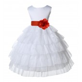 White/Persimmon Satin Shimmering Organza Flower Girl Dress Pageant 308T