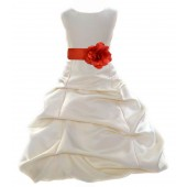 Ivory/Persimmon Satin Pick-Up Bubble Flower Girl Dress Bridesmaid 808T