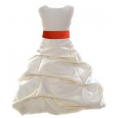 Ivory/Persimmon Satin Pick-Up Bubble Flower Girl Dress Bridesmaid 806S
