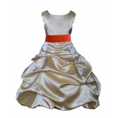 Gold/Persimmon Satin Pick-Up Bubble Flower Girl Dress Dazzling 806S