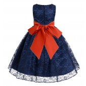 Navy / Persimmon Floral Lace Overlay Flower Girl Dress Lace Dresses 163s
