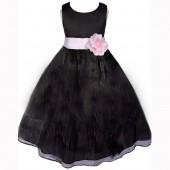 Black/Pink Satin Bodice Organza Skirt Flower Girl Dress 841T