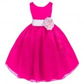 Fuchsia/Pink Satin Bodice Organza Skirt Flower Girl Dress 841T