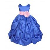 Royal Blue/Pink Satin Taffeta Pick-Up Bubble Flower Girl Dress 301S