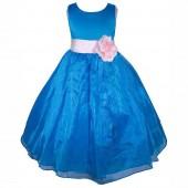 Royal Blue/Pink Satin Bodice Organza Skirt Flower Girl Dress 841T