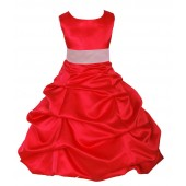 Red/Pink Satin Pick-Up Bubble Flower Girl Dress Christmas 806S