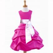 Fuchsia/Pink Satin Pick-Up Bubble Flower Girl Dress V2 806S