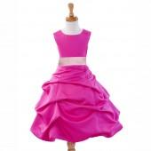 Fuchsia/Pink Satin Pick-Up Bubble Flower Girl Dress Elegant 808T