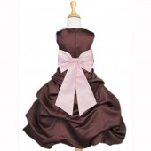 Brown/Pink Satin Pick-Up Bubble Flower Girl Dress Occasions 808T