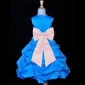 Turquoise/Pink Satin-Pick-Up Bubble Flower Girl Dress Recital 808T