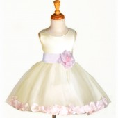 Ivory/Pink Rose Petals Tulle Flower Girl Dress Pageant 305S