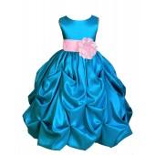 Turquoise/Pink Satin Taffeta Pick-Up Bubble Flower Girl Dress 301S