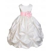 Ivory/Pink Satin Taffeta Pick-Up Bubble Flower Girl Dress 301S