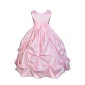 Matching Pink Satin Taffeta Pick-Up Bubble Flower Girl Dress 301S