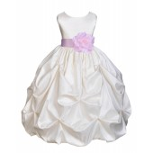 Ivory/Pink Satin Taffeta Pick-Up Bubble Flower Girl Dress 301T
