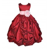 Apple / Pink Satin Taffeta Pick-Up Bubble Flower Girl Dress 301S