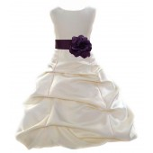 Ivory/Plum Satin Pick-Up Bubble Flower Girl Dress Bridesmaid 808T