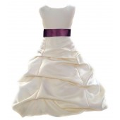 Ivory/Plum Satin Pick-Up Bubble Flower Girl Dress Bridesmaid 806S