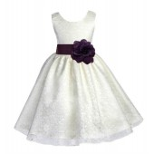 Ivory/Plum Floral Lace Overlay Flower Girl Dress Special Event 163S