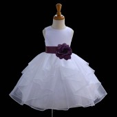 White/Plum Satin Shimmering Organza Flower Girl Dress Wedding 4613S
