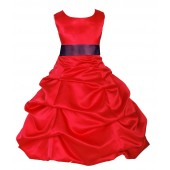 Red/Plum Satin Pick-Up Bubble Flower Girl Dress Christmas 806S