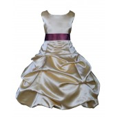 Gold/Plum Satin Pick-Up Bubble Flower Girl Dress Dazzling 806S