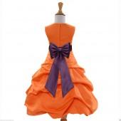 Orange/Plum Satin Pick-Up Bubble Flower Girl Dress Halloween 808T