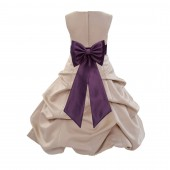 Champagne/Plum Satin Pick-Up Bubble Flower Girl Dress Special Occasion 808T