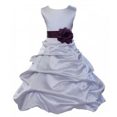 Silver/Plum Satin Pick-Up Bubble Flower Girl Dress Stylish 808T