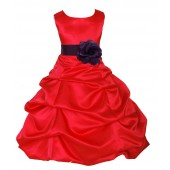 Red/Plum Satin Pick-Up Bubble Flower Girl Dress Christmas 808T