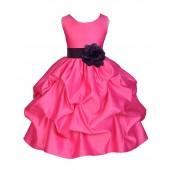 Fuchsia/Plum Satin Pick-Up Flower Girl Dress Recital 208T