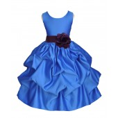 Royal Blue/Plum Satin Pick-Up Flower Girl Dress Dance 208T