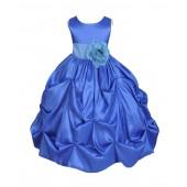 Royal Blue/Pool Satin Taffeta Pick-Up Bubble Flower Girl Dress 301S